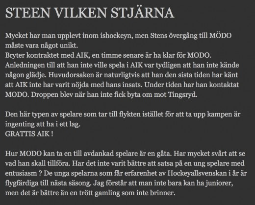 Screenshot från Bäckmans blogg.