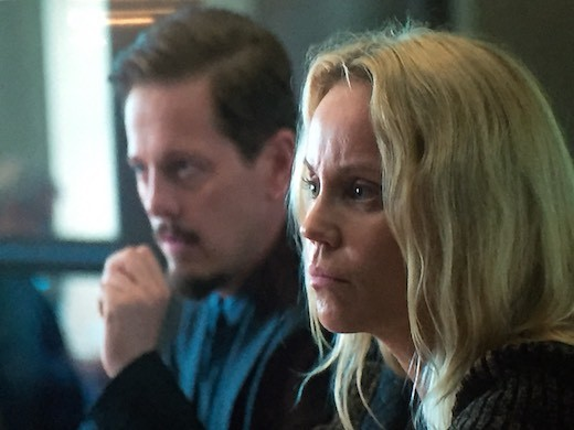 "Thure Lindhardt and Sofia Helin during the filming of Season 4 of ""The Bridge""."